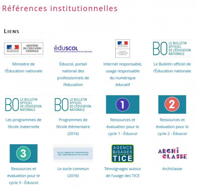 Page ressources institutionnelles